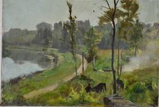 French school (19th century) - A riverside landscape