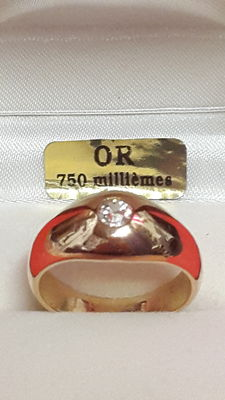 18 kt English gold jonc ring - 0.35 ct diamond