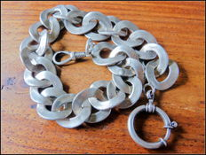 A heavy link watch chain made of silver - Germany - jeweller work - unique -