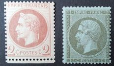 France 1862 – selection of 2 classic stamps, one of which is signed by Calves – Yvert No. 19 and 26