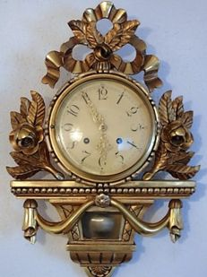 Swedish - gold-plated - Cartel wall clock - 2nd period 1900.