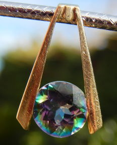 14 kt gold pendant with Mystic topaz - 22 x 15