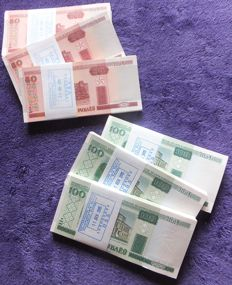 Belarus - 600 banknotes in original bundles of 100 - BELARUS