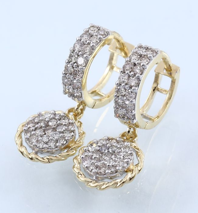 Yellow Gold 1.36 ct diamond hoop earrings made of hallmarked 14 kt Yellow gold