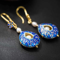 925 Silver Earrings Cloisonne weighs 12.2 grams