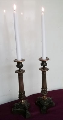 Pair of empire style bronze candlesticks, 20th century