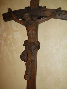 Christ on the cross, crucifix, 20th century Woodcarving