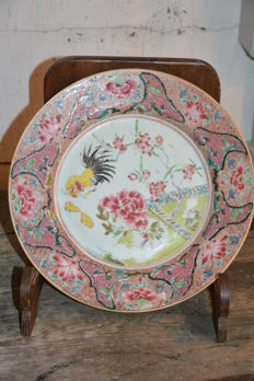 Rose Family Large Plate - China - 18th Century