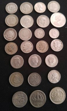 World - Lot of 25 coins 1897/1967- Silver