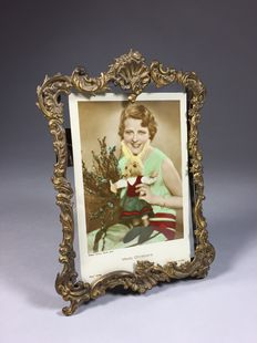 Brass photo frame in Rococo style, France, ca. 1900