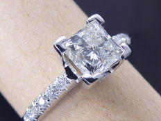 Ring decorated by diamonds 0.90 ct ; Central diamond Princess cut 0.82 ct -  Ring size: 52.50 / 16.75mm