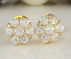 1.00CTW Natural VS1-VS2 / F-G Diamonds in 14K Solid Yellow Gold Stud Earrings