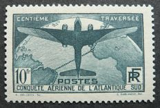 "France 1936 - 10 f dark green - ""Atlantique Sud"" - Signed Calves with digital certificate - Yvert no. 321"