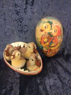 4 German Steiff chicks in old Easter egg with an image of 2 ducks with 3 chicks