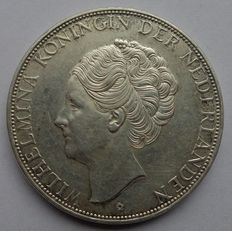 The Netherlands – 2½ guilder 1938 Wilhelmina with coarse hair / silver