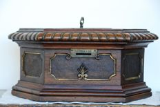 Antique solid walnut offerings box