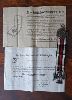 Iron Cross 2nd class and Participant's Cross with certificate / WW 1