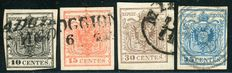 Lombardy Venetia, 1850 - Small lot of 4 stamps.