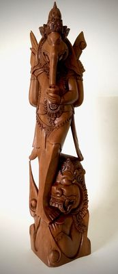 Large wooden sculpture of a standing Ganesha and Mashika - Bali - Indonesia