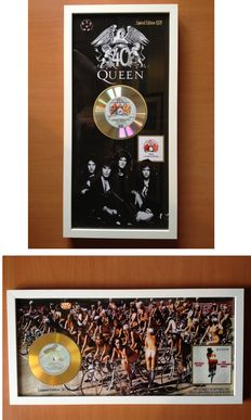 "Queen Lot With Gold & Platinum Plated CD Displays  ""A Night at The Opera"" & ""Bicycle Girls"" Including 2 Queen Plectrums"