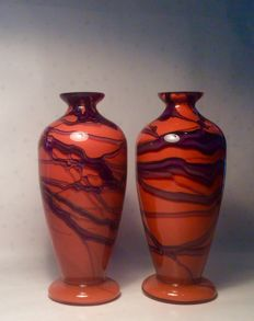 Two flawless glass vases - 1st half 20th century - orange/violet coloured lineplay.