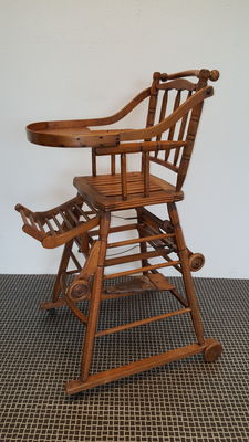 High chair with frame of beech wood, France, 1930