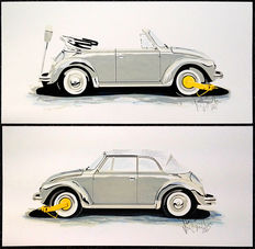 "Lot of two original screen prints ""VW cabrio with the Yellow Earing"" by Karel Lijbrink from 1988"