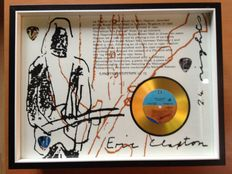 "Eric Clapton Gold Plated CD Display ""24 Nights"" & 3 Clapton Plectrums"