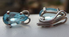 Earrings with beautiful pear-shaped aquamarine on 18 kt white gold
