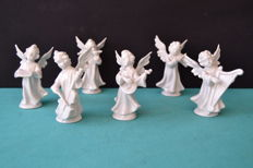 Lot of six porcelain angels - Portugal - 1960