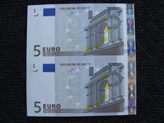 European Union - Germany - 2 x 5 euros 2022 - Duisenberg - Intentionally cut wrong from a large sheet of 32