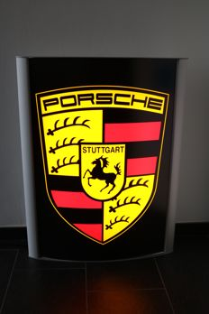 Porsche light advertising sign - lightbox / xxl dealer sign - 85 x 66 x 12 cm