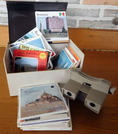 Lot of 32 View-Master 3-reel sets in View-Master storage box + reel list 1956 + viewer model G