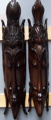 Two coromandel wooden large masks - Bali - Indonesia