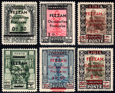 French Occupation, Fezzan, 1943 – 6 overprinted Libyan stamps
