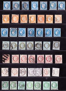 France 1870/1872 – Extensive colour study, a variety of cancellations on classics – Yvert no. 37 to 53