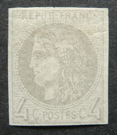 "France 1870 - 4 c grey (report 2) - Cérès - Issue said ""from Bordeaux"" - Signed Calved with digital certificate - Yvert no. 41B"
