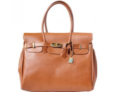 Handbag in calfskin leather with gold/chrome hardware from Florence, Tuscany