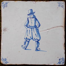 Special tile with skater, 17th century.