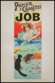 Georges Meunier (1896-1942) - behind glass framed advertising poster for cigarette rolling paper from the JOB brand - 1896.