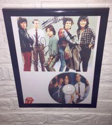 The Rolling Stones - Signed (printed signatures) Framed Photo, with CD disc.