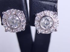 Ear studs set with in total 0.60 ct diamonds ***no reserve price***
