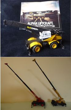 Conrad - Scale 1/50 - Lot of 3 cranes on wheels - Yellow / Black