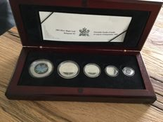 Canada – 1 to 5 Dollars 2003 'Maple Leaf Hologram 5-coin Set' – Silver