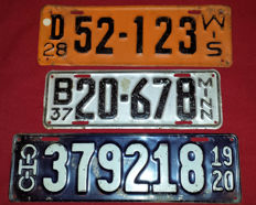 Three old American car plates - Wisconsin 1928 - Minnesota 1937 - Ohio 1920.