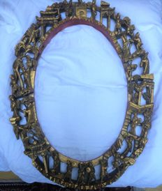 Wood carving, oval, very intricate, detailed picture or mirror frame - China - 19th century
