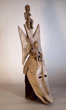 Very Old African tribal BOBO FING dance mask. Burkina Faso
