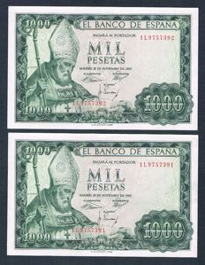Spain - 2x 1,000 Pesetas 1965 - Pick 151 - Correlative pair -