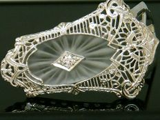 Money Clip 1920's Diamond - 0,35ct Diamond VVS1E ** No Reserve Price **