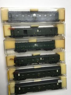 Liliput H0 - 29591/29490/29592/29093 - 6x Belgian carriages